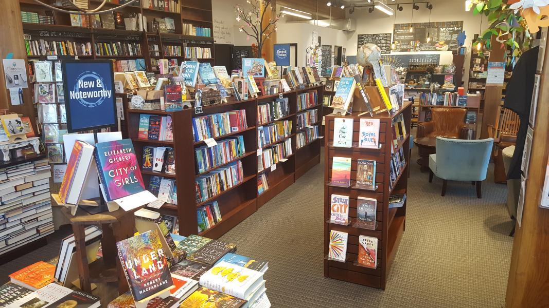 Independent bookstore and cafe in Bend, Oregon stocking new adult books and kids books